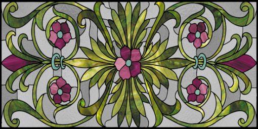 Naklejka z witrażem liści i kwiatów