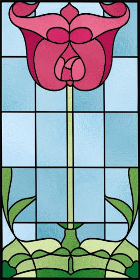 Naklejka witrażowa z tulipanem