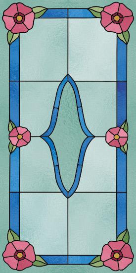 Witraż samoprzylepny w kolorze niebieskim