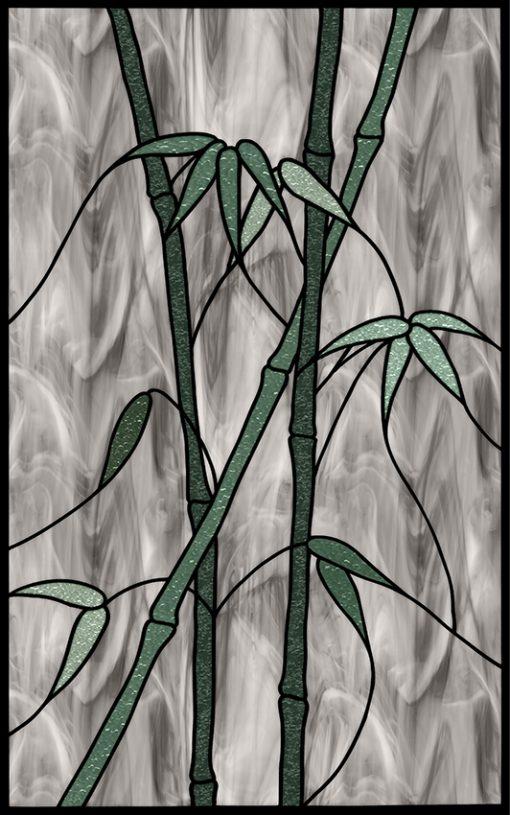 naklejka jak witraż z bambusami