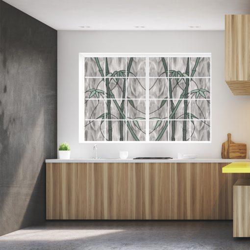 witraż samoprzylepny z bambusami