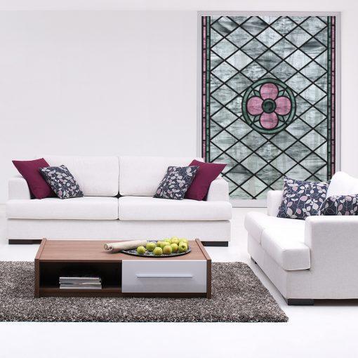 Naklejka witrażowa z różowym kwiatem