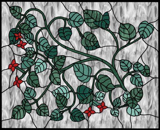 Folia witrażowa z motywem liści i kwiatów