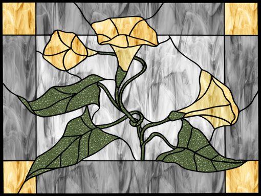 Folia witrażowa z motywem kwiatów