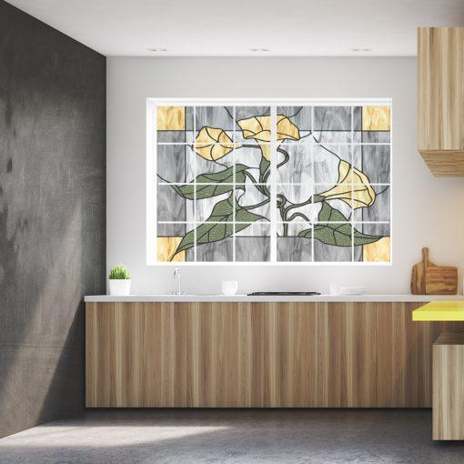 Naklejka witrażowa z kwiatami
