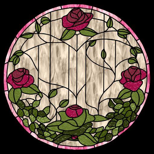 Samoprzylepny witraż z różami