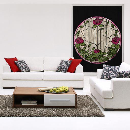 Naklejka witrażowa kwiaty róż