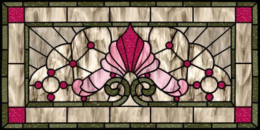 Folia witrażowa z różowym wzorem