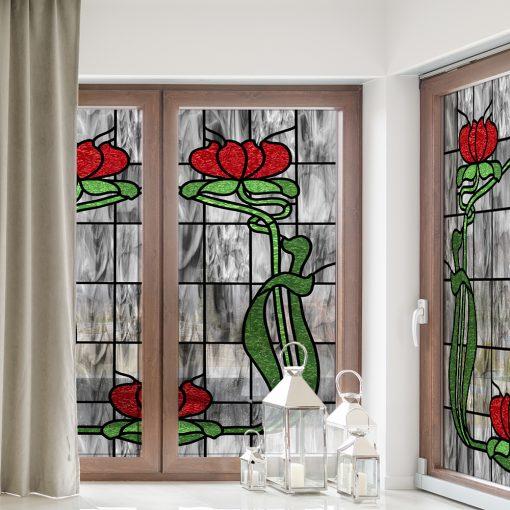 Witraż samoprzylepny z czerwonymi kwiatami