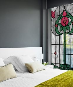 Szary witraż samoprzylepny z kwiatem