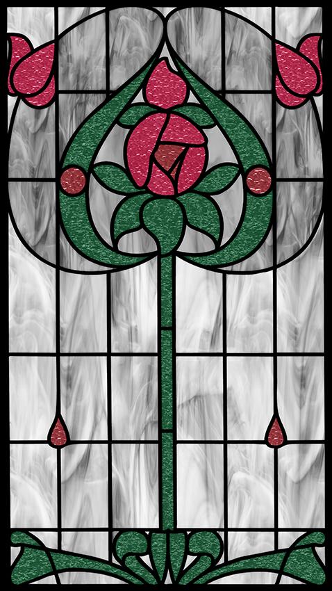 Witraż na folii z kwiatem