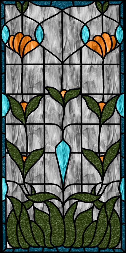 Folia witrażowa zielone liście