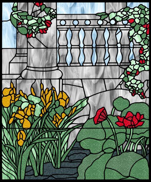 Naklejka witrażowa kwiaty w ogrodzie