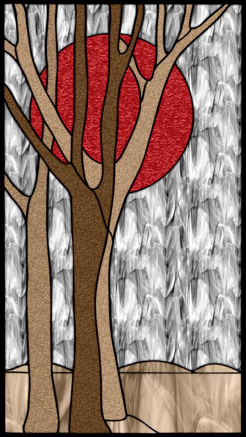 Samoprzylepny witraż z drzewami