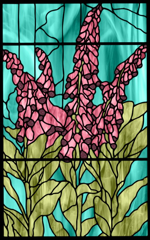 Naklejka witrażowa różowe kwiaty