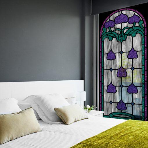 Samoprzylepny witraż wzór zielono fioletowy