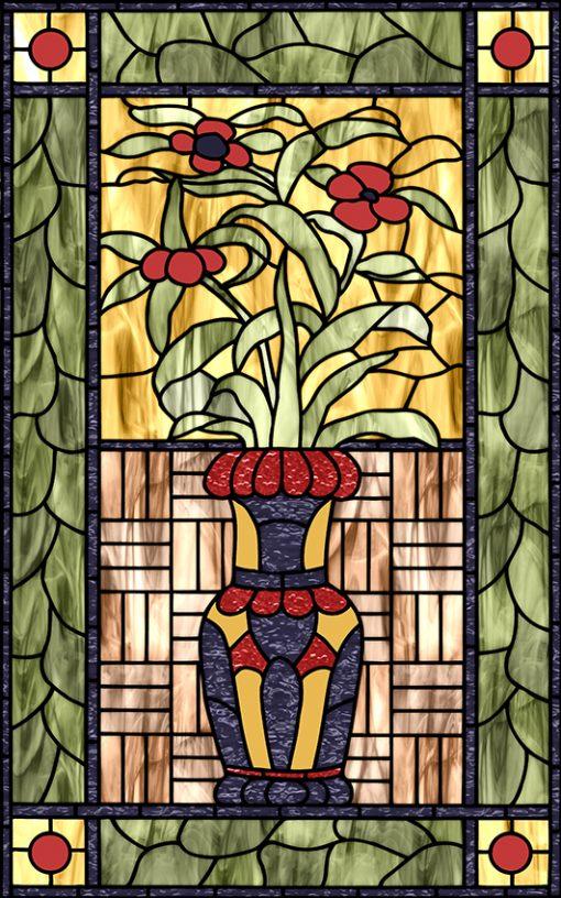 Naklejka witrażowa kwiaty w wazonie