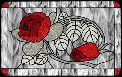 Naklejka z witrażem w róże