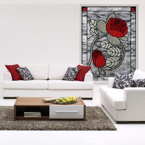 Naklejka witrażowa kwiaty róży