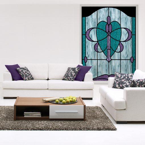 Folia witrażowa turkusowo-fioletowa