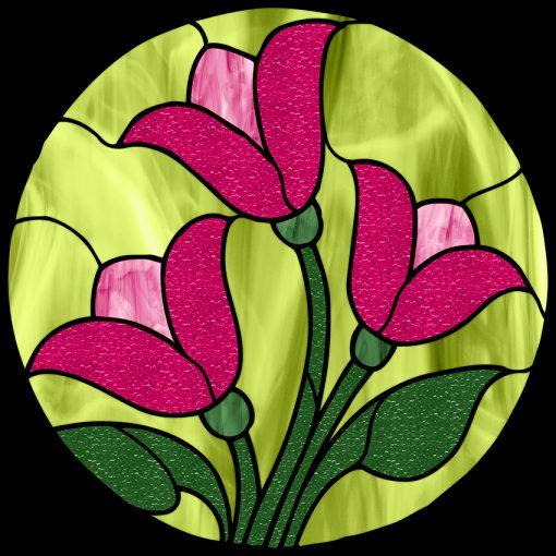 Zielona folia witrażowa z tulipanami