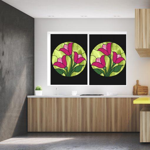 Naklejka witrażowa różowe tulipany