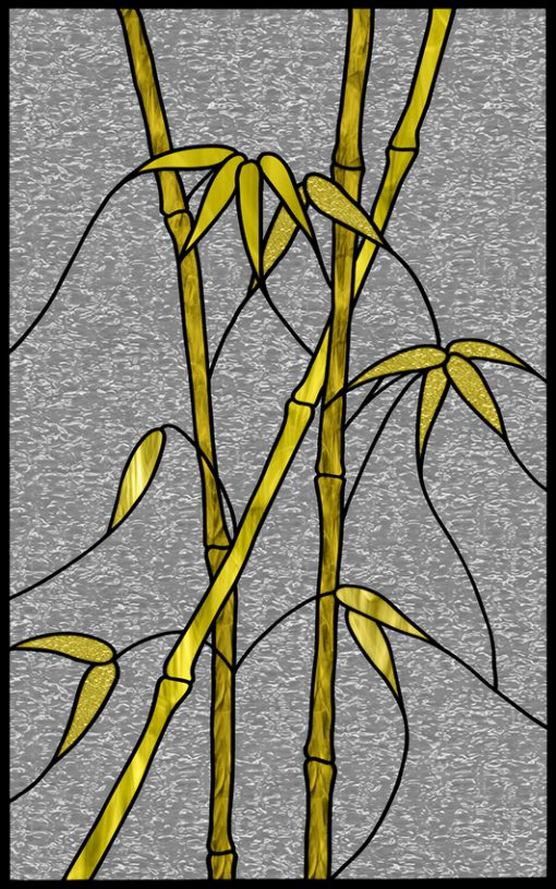 Szaro-żółty witraż samoprzylepny z bambusem