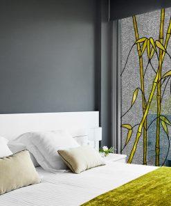 Witraż samoprzylepny żółty bambus