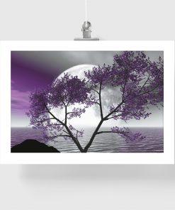 plakat fioletowy z drzewem
