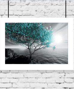 plakat drzewo na tle morza
