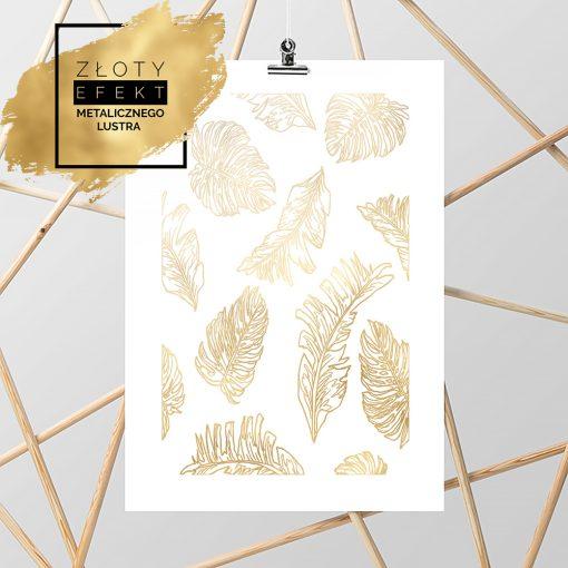 złoty plakat z liśćmi