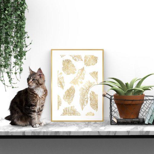 złoty plakat z motywem liści