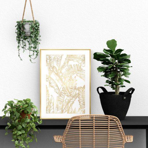 motyw botaniczny na ścianę z liśćmi