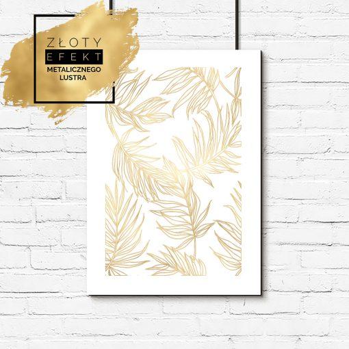 plakat ze złotymi liśćmi