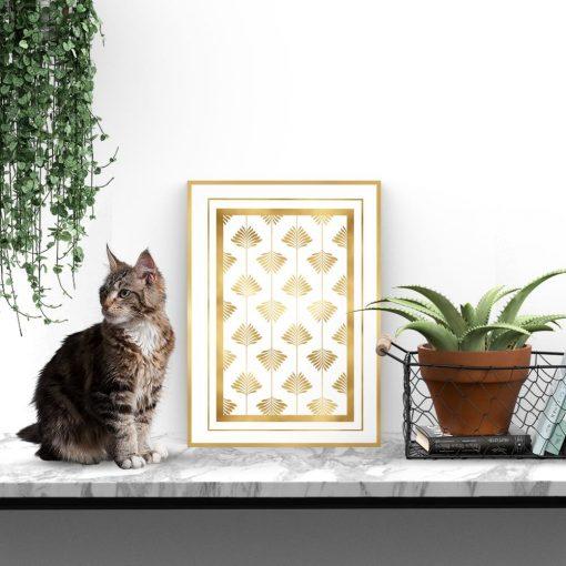 plakat ze złotym wzorem
