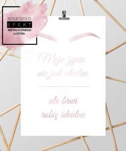 plakat z różowo złotym napisem