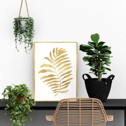 plakat ze złotym liściem