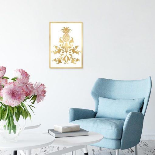 plakat z motywem złotych wzorów na ścianę