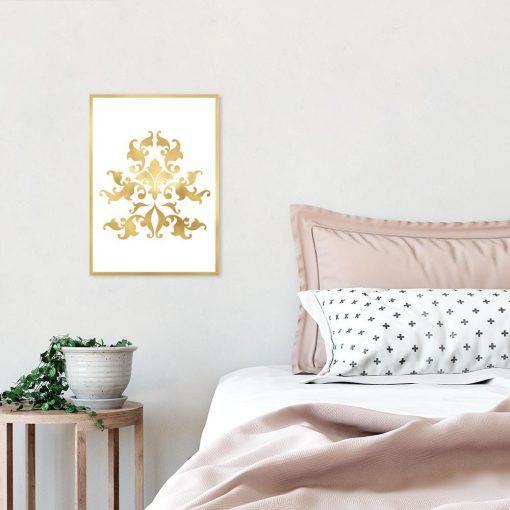 plakat ze złotym motywem do sypialni