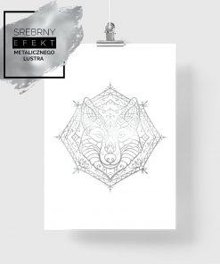 plakat ze srebrnym wilkiem na ścianę