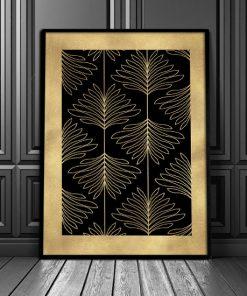 plakat ze złotymi liśćmi na czarnym tle