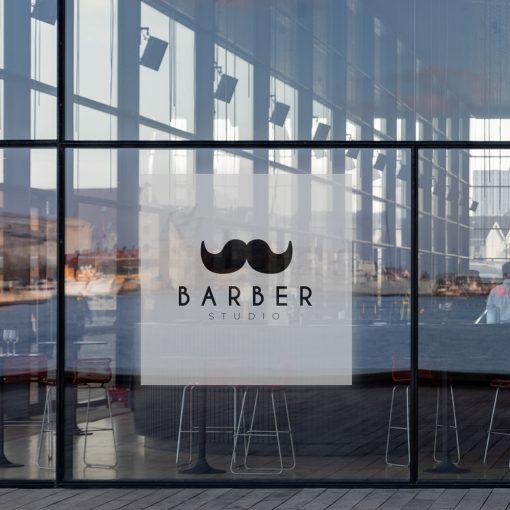 naklejka z logo barbera