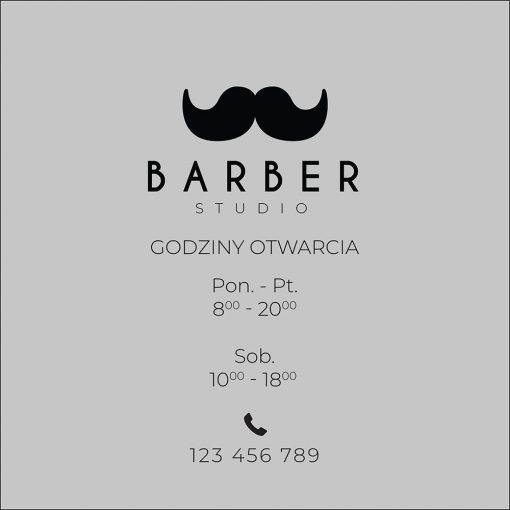naklejka z godzinami otwarcia barbera