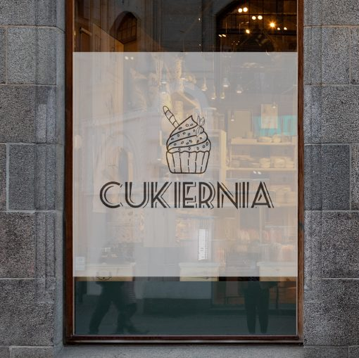 okleina na okno z logo cukierni