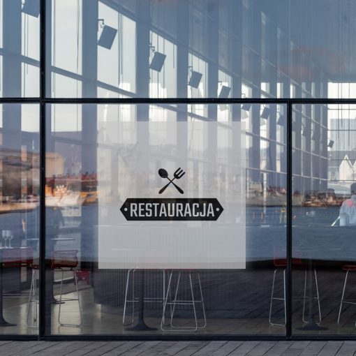 okleina na okno z logo restauracji