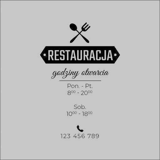 folia na drzwi z godzinami otwarcia restauracji
