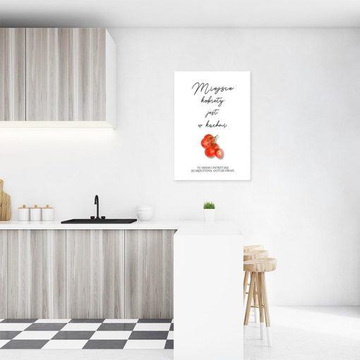 plakat napis o kobiecie w kuchni