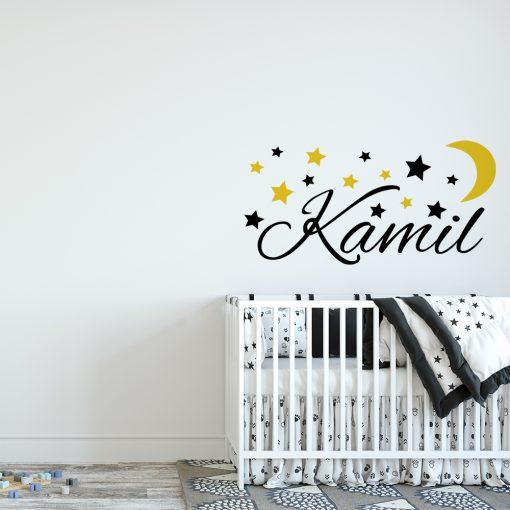 naklejka imię dziecka i księżyc