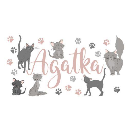 naklejka koty i imię dziecka