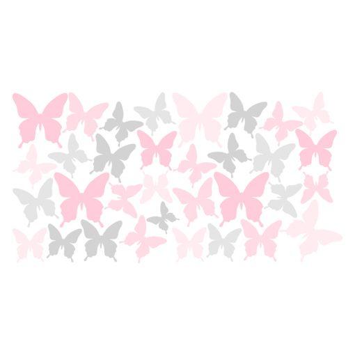 szaro-różowa naklejka motyle